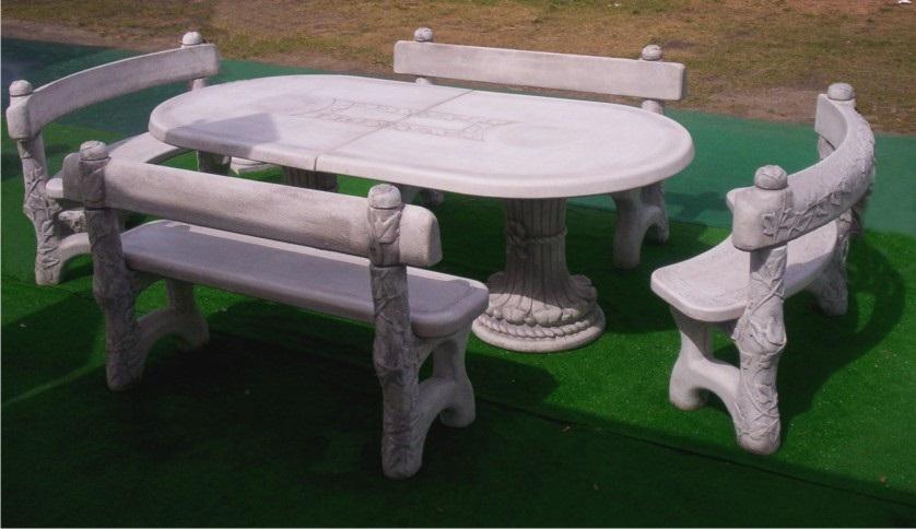 ART. TA-03+PA-02+PA-04 tavolo ovale edera con panche